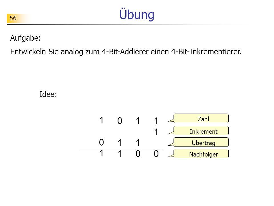 56 Übung Aufgabe: Entwickeln Sie analog zum 4-Bit-Addierer einen 4-Bit-Inkrementierer.