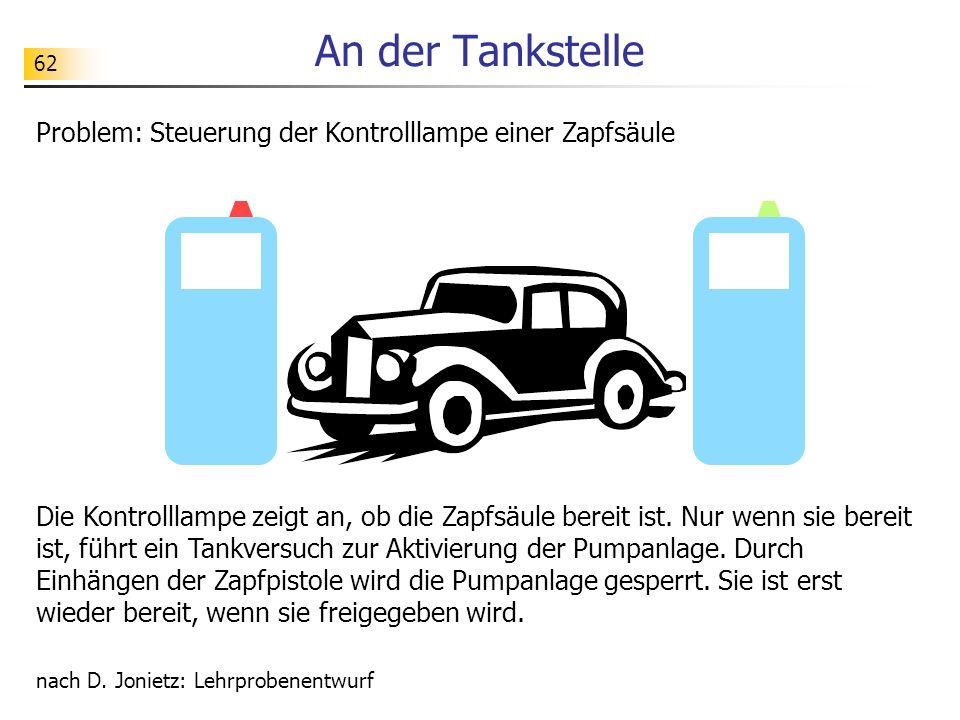 62 An der Tankstelle Problem: Steuerung der Kontrolllampe einer Zapfsäule nach D.