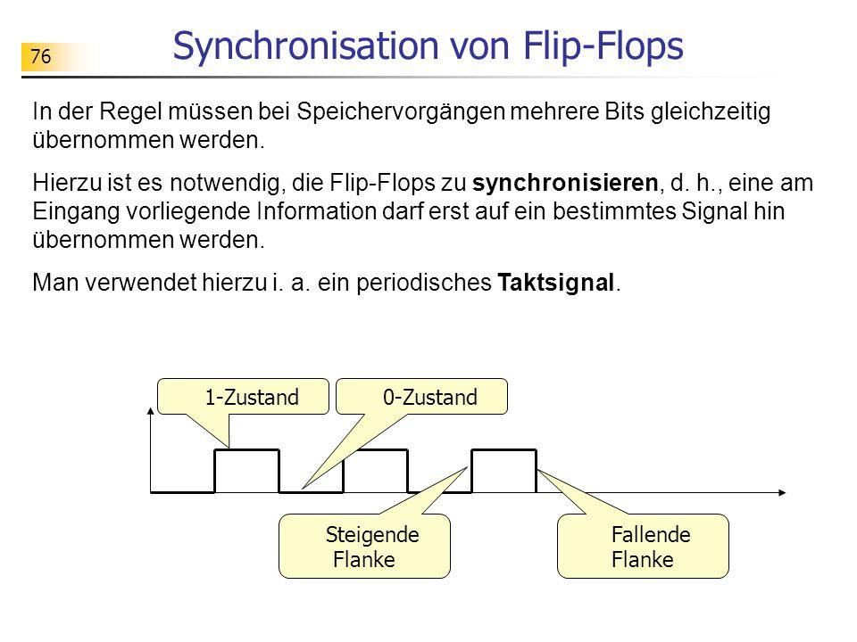 76 Synchronisation von Flip-Flops In der Regel müssen bei Speichervorgängen mehrere Bits gleichzeitig übernommen werden.