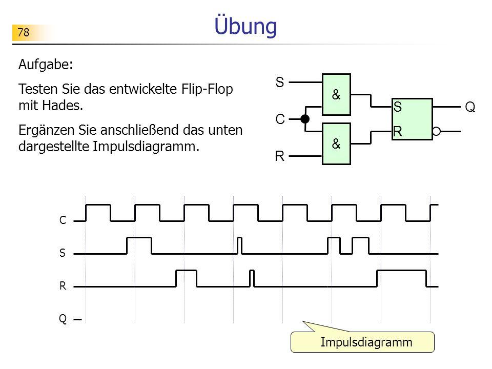 78 Übung C S Q R S Q R S R & & C Aufgabe: Testen Sie das entwickelte Flip-Flop mit Hades.