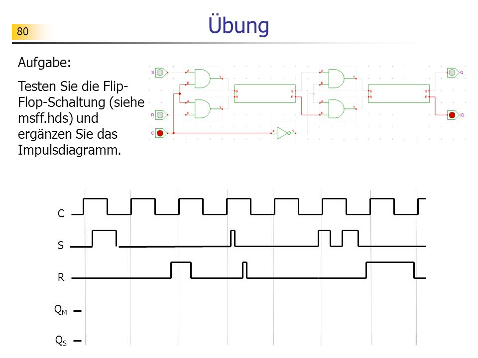 80 Übung Aufgabe: Testen Sie die Flip- Flop-Schaltung (siehe msff.hds) und ergänzen Sie das Impulsdiagramm.