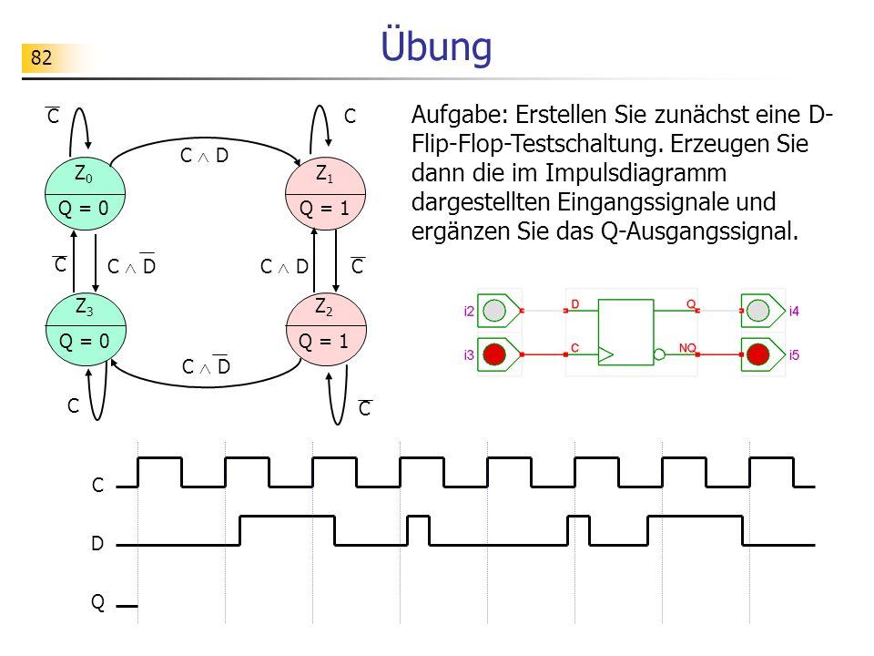82 Übung C D Q Aufgabe: Erstellen Sie zunächst eine D- Flip-Flop-Testschaltung.