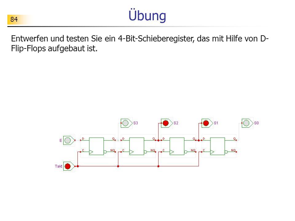 84 Übung Entwerfen und testen Sie ein 4-Bit-Schieberegister, das mit Hilfe von D- Flip-Flops aufgebaut ist.