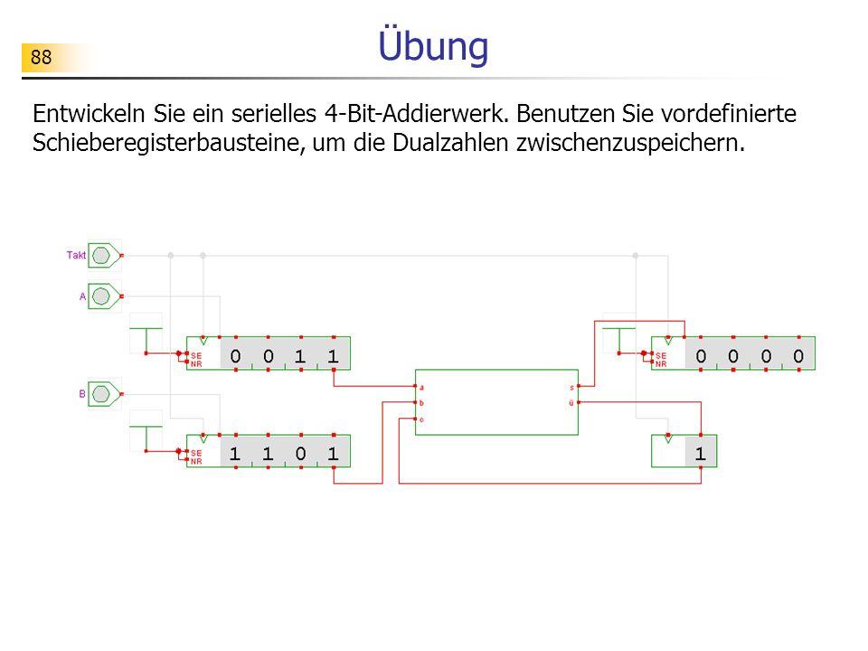 88 Übung Entwickeln Sie ein serielles 4-Bit-Addierwerk.