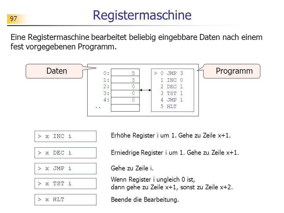 97 Registermaschine > 0 JMP 3 1 INC 0 2 DEC 1 3 TST 1 4 JMP 1 5 HLT 0:5 1:3 2:0 3:0 4:0..