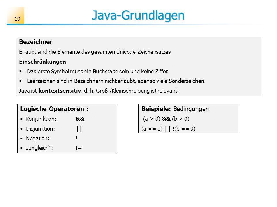 Java-Grundlagen 10 Bezeichner Erlaubt sind die Elemente des gesamten Unicode-Zeichensatzes Einschränkungen Das erste Symbol muss ein Buchstabe sein un