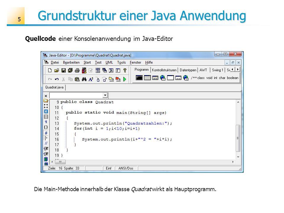 Grundstruktur einer Java Anwendung 5 Die Main-Methode innerhalb der Klasse Quadrat wirkt als Hauptprogramm. Quellcode einer Konsolenanwendung im Java-