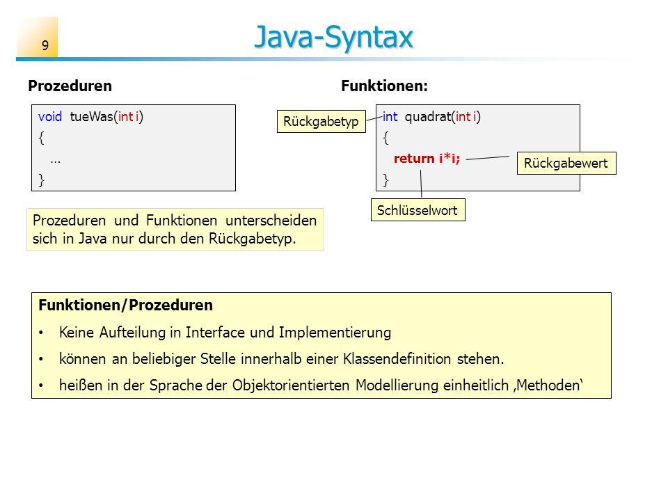 Java-Syntax 9 Funktionen/Prozeduren Keine Aufteilung in Interface und Implementierung können an beliebiger Stelle innerhalb einer Klassendefinition st