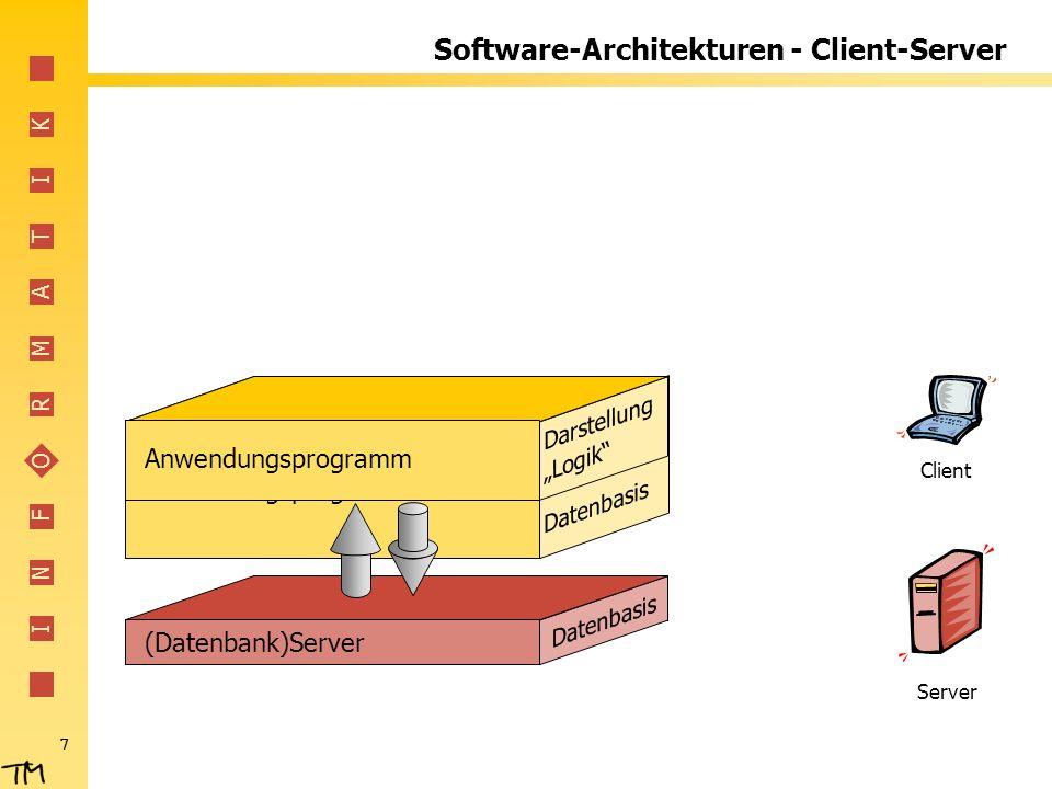I N F O R M A T I K 8 Software-Architekturen - Client-Server (Datenbank)Server Datenbasis Server Client Darstellung Anwendungsprogramm Logik Vorteile Datenbank übernimmt Standardaufgaben Daten zentral vorhanden (für mehrere Benutzer / Programme) Erweiterungen relativ einfach Nachteile Installation von Software auf allen Clients notwendig Weitere Sprache zum Datenbankzugriff