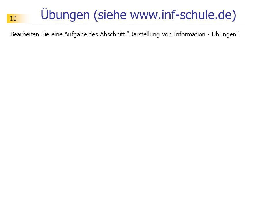 10 Übungen (siehe www.inf-schule.de) Bearbeiten Sie eine Aufgabe des Abschnitt