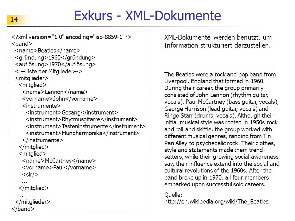 14 Exkurs - XML-Dokumente Beatles 1960 1970 Lennon John Gesang Rhytmusgitarre Tasteninstrumente Mundharmonika McCartney Paul...... The Beatles were a