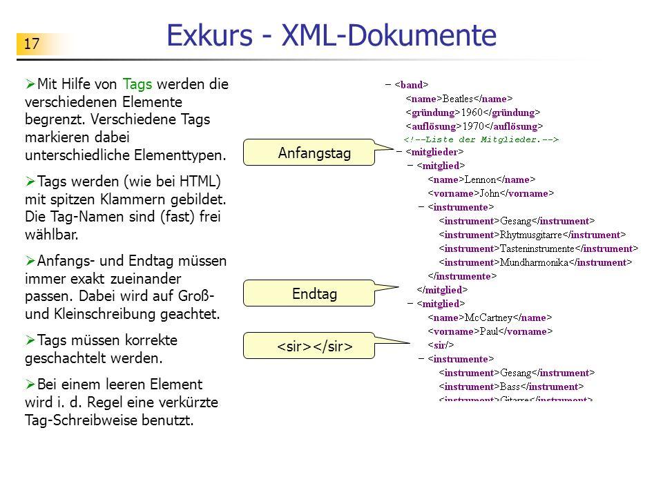 17 Exkurs - XML-Dokumente Mit Hilfe von Tags werden die verschiedenen Elemente begrenzt. Verschiedene Tags markieren dabei unterschiedliche Elementtyp