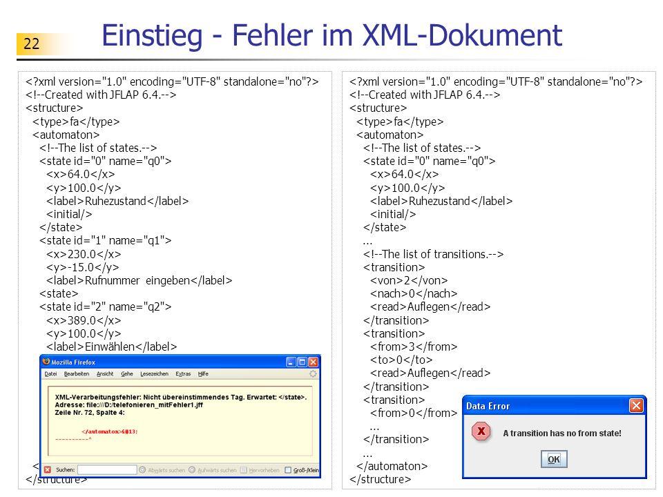 22 Einstieg - Fehler im XML-Dokument fa 64.0 100.0 Ruhezustand 230.0 -15.0 Rufnummer eingeben 389.0 100.0 Einwählen 235.0 227.0 Wählen... fa 64.0 100.