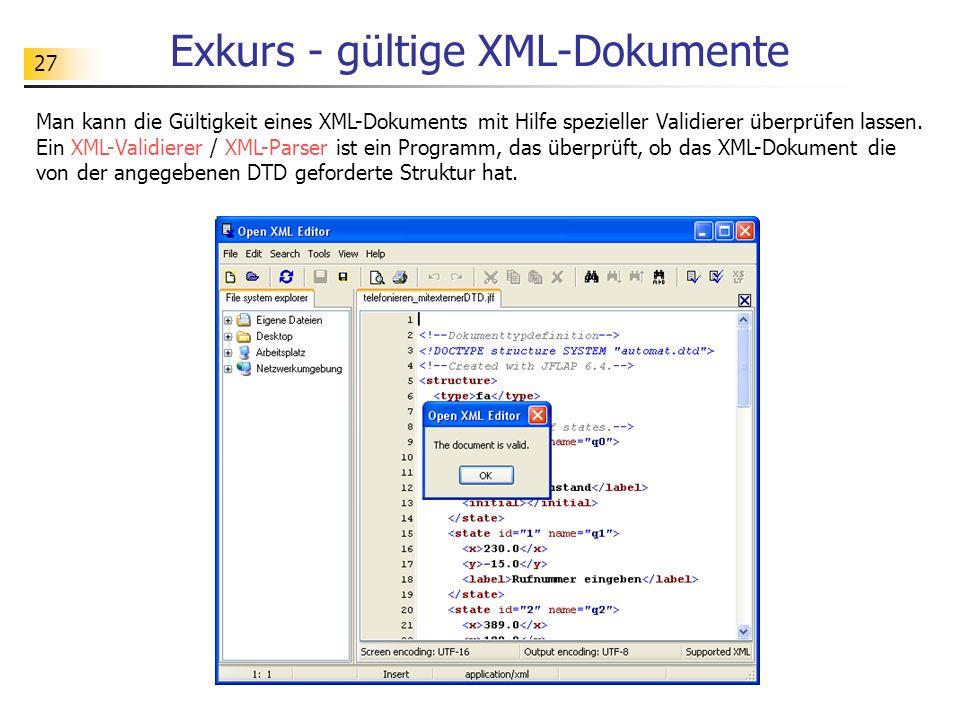 27 Exkurs - gültige XML-Dokumente Man kann die Gültigkeit eines XML-Dokuments mit Hilfe spezieller Validierer überprüfen lassen. Ein XML-Validierer /