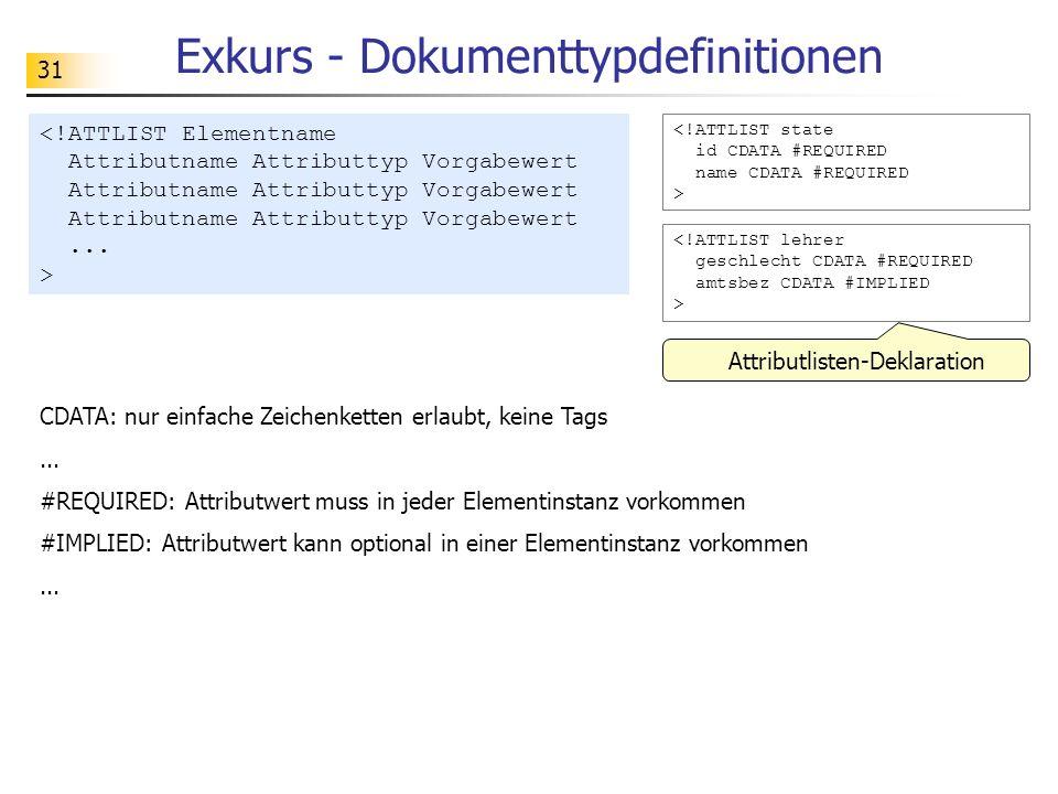 31 Exkurs - Dokumenttypdefinitionen <!ATTLIST state id CDATA #REQUIRED name CDATA #REQUIRED > Attributlisten-Deklaration CDATA: nur einfache Zeichenke