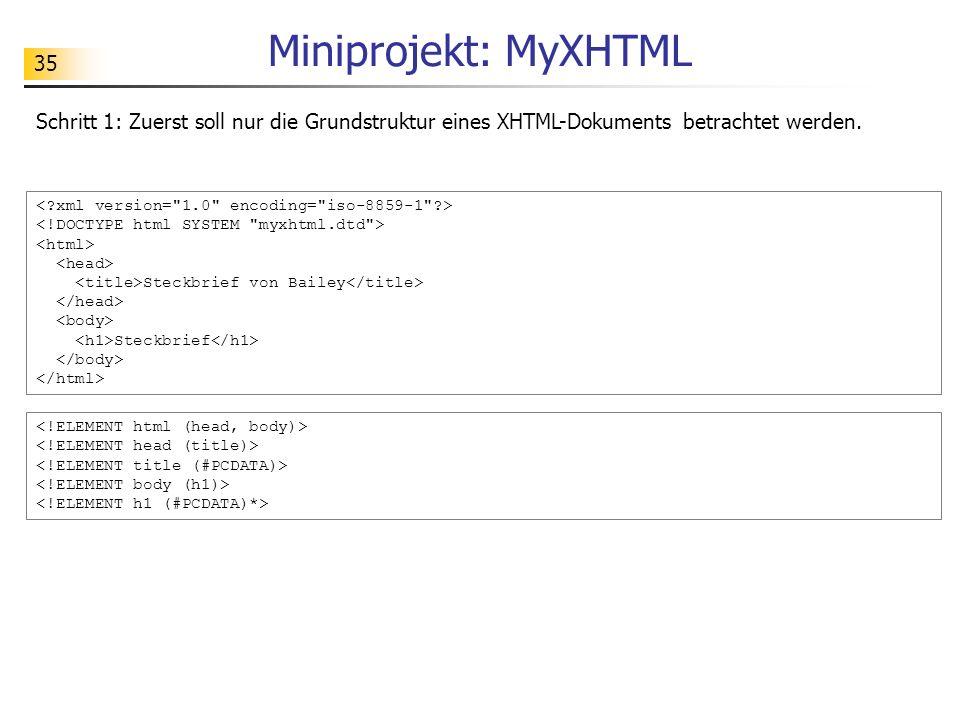 35 Miniprojekt: MyXHTML Schritt 1: Zuerst soll nur die Grundstruktur eines XHTML-Dokuments betrachtet werden. Steckbrief von Bailey Steckbrief