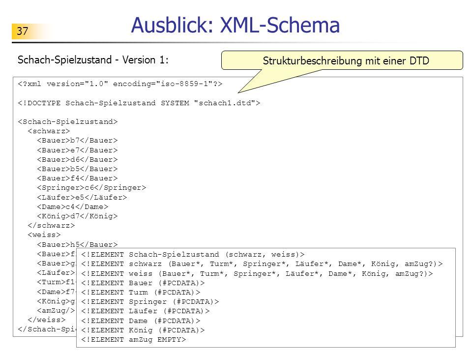 37 Ausblick: XML-Schema b7 e7 d6 b5 f4 c6 e5 c4 d7 h5 f2 g2 f5 f1 f7 g1 Schach-Spielzustand - Version 1: Strukturbeschreibung mit einer DTD