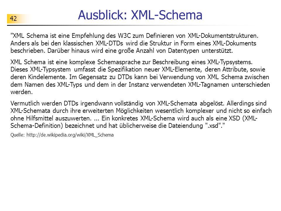 42 Ausblick: XML-Schema
