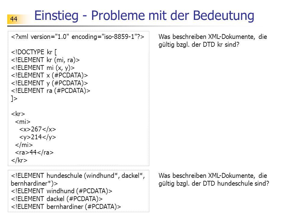 44 Einstieg - Probleme mit der Bedeutung <!DOCTYPE kr [ ]> 267 214 44 Was beschreiben XML-Dokumente, die gültig bzgl. der DTD kr sind? Was beschreiben
