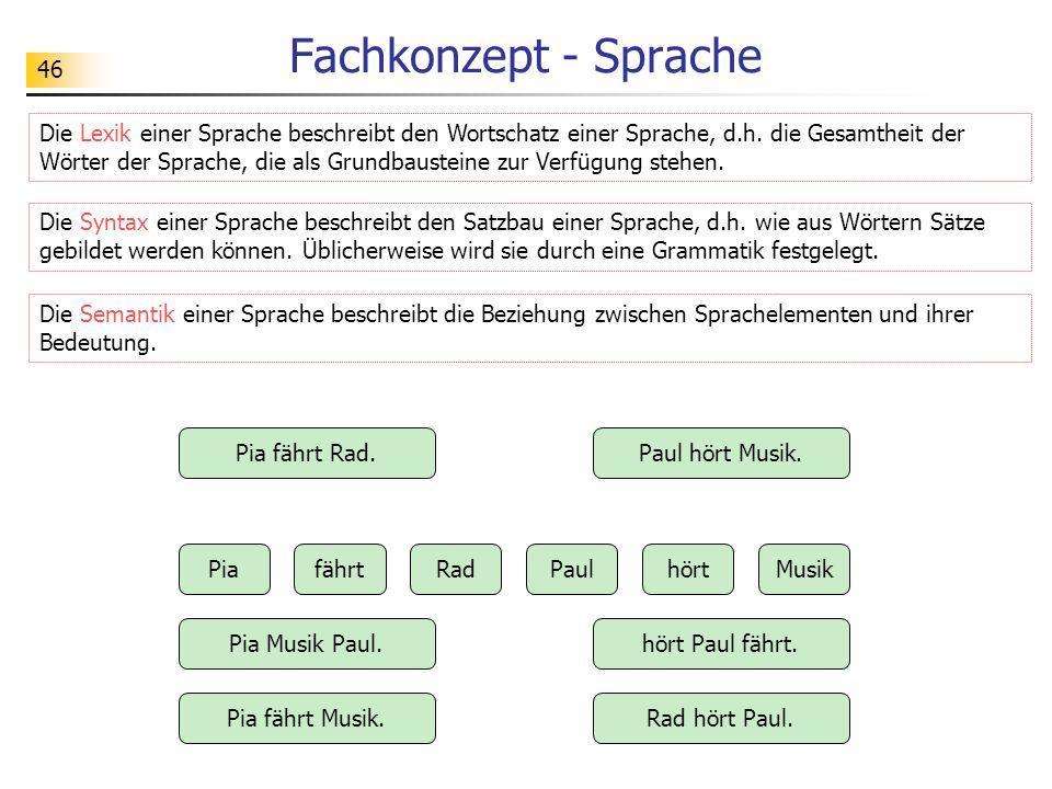 46 Fachkonzept - Sprache Die Lexik einer Sprache beschreibt den Wortschatz einer Sprache, d.h. die Gesamtheit der Wörter der Sprache, die als Grundbau