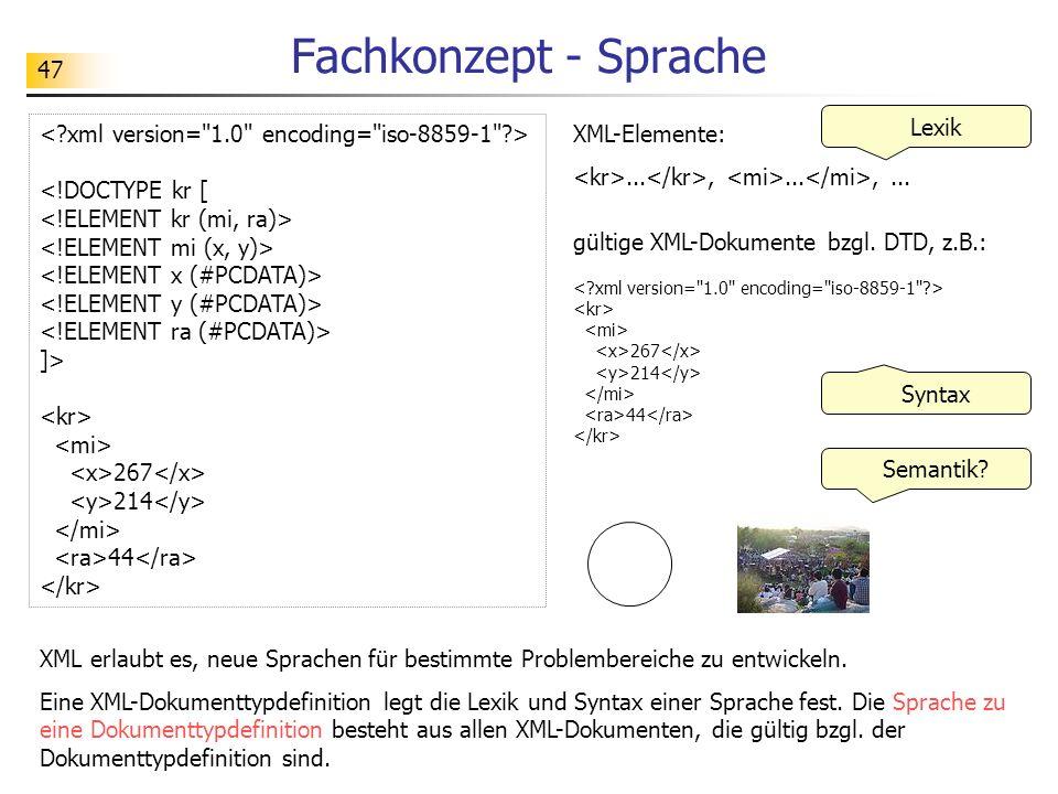 47 Fachkonzept - Sprache <!DOCTYPE kr [ ]> 267 214 44 XML-Elemente:...,...,... gültige XML-Dokumente bzgl. DTD, z.B.: 267 214 44 Lexik Syntax Semantik