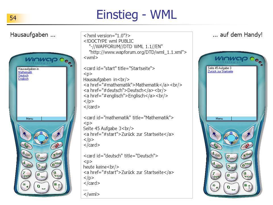 54 Einstieg - WML <!DOCTYPE wml PUBLIC