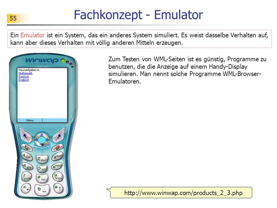 55 Fachkonzept - Emulator Ein Emulator ist ein System, das ein anderes System simuliert. Es weist dasselbe Verhalten auf, kann aber dieses Verhalten m