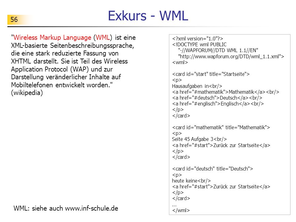 56 Exkurs - WML <!DOCTYPE wml PUBLIC