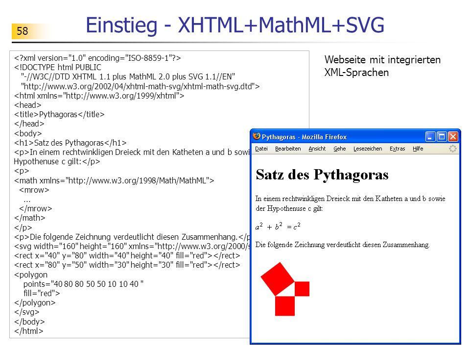 58 Einstieg - XHTML+MathML+SVG <!DOCTYPE html PUBLIC