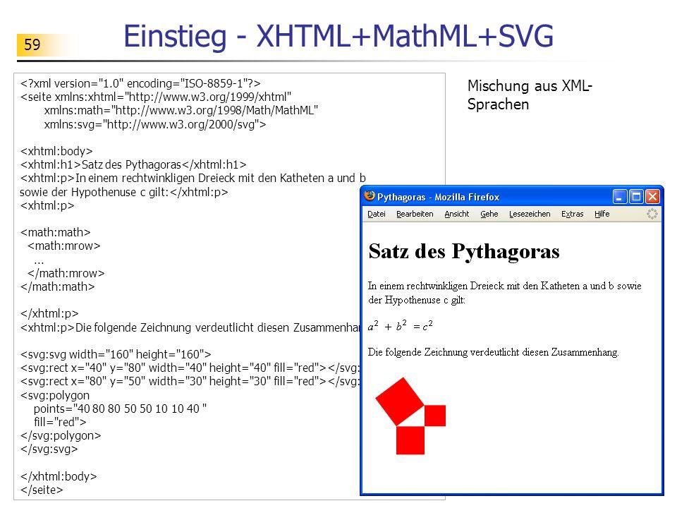 59 Einstieg - XHTML+MathML+SVG <seite xmlns:xhtml=