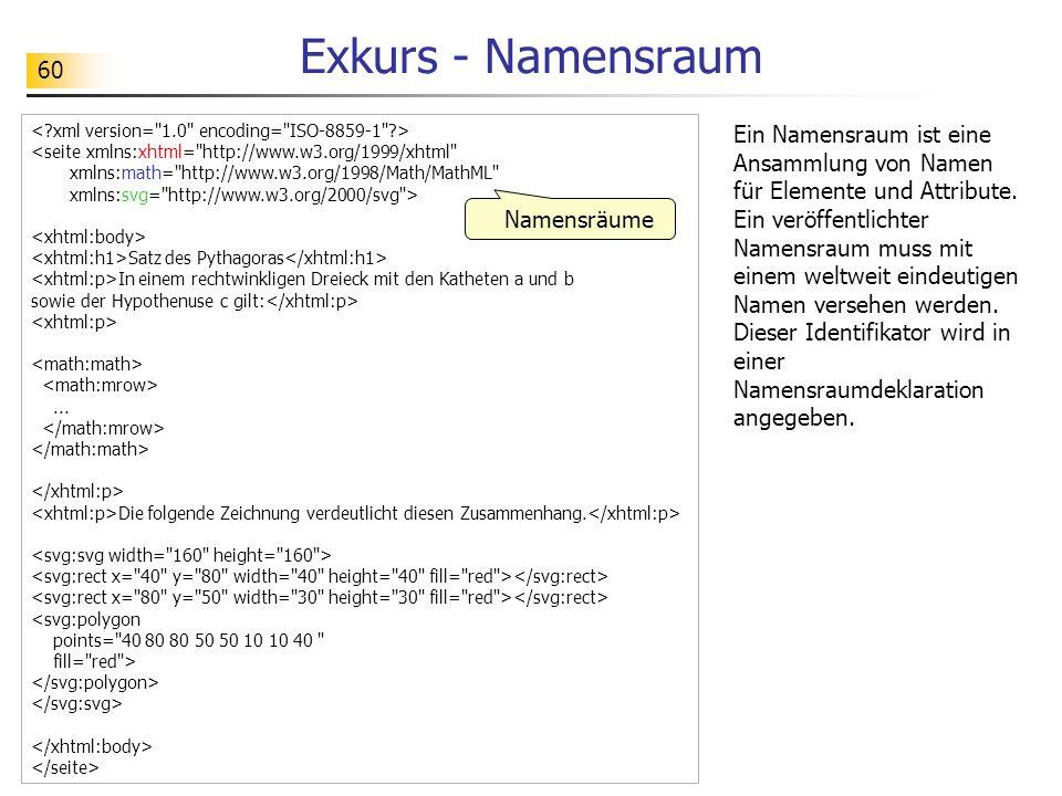 60 Exkurs - Namensraum <seite xmlns:xhtml=