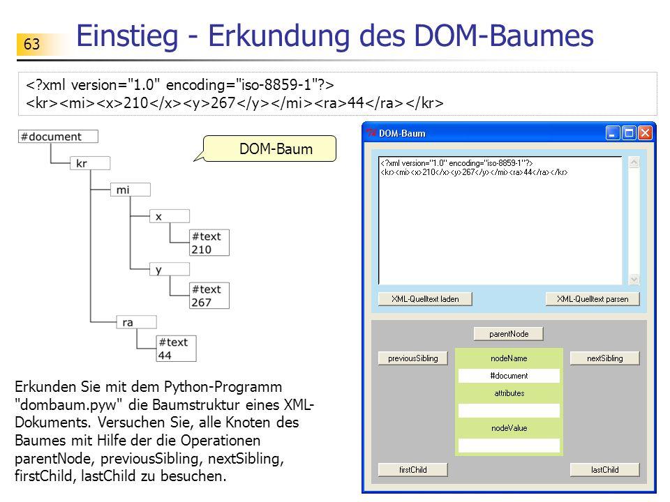 63 Einstieg - Erkundung des DOM-Baumes DOM-Baum 210 267 44 Erkunden Sie mit dem Python-Programm