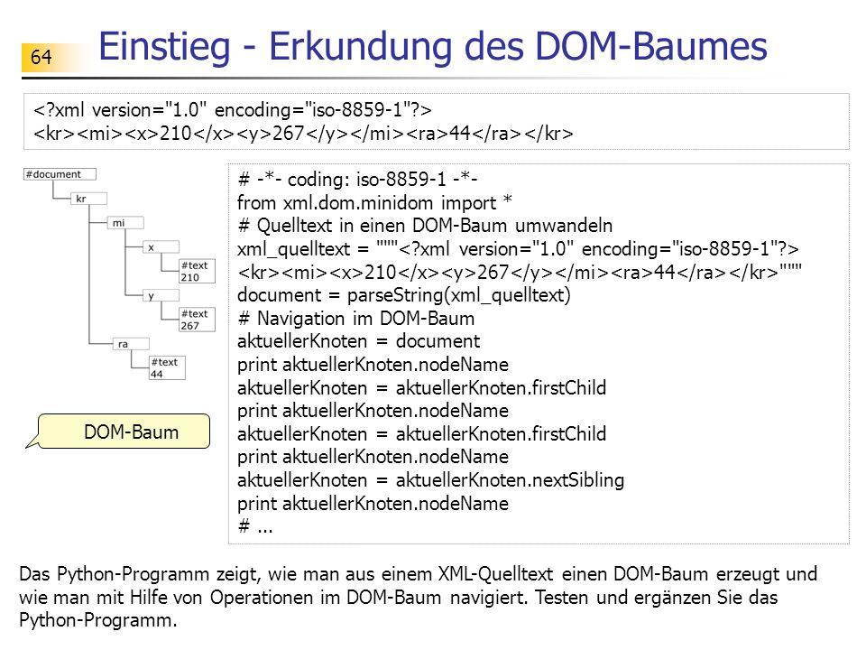 64 Einstieg - Erkundung des DOM-Baumes DOM-Baum 210 267 44 Das Python-Programm zeigt, wie man aus einem XML-Quelltext einen DOM-Baum erzeugt und wie m