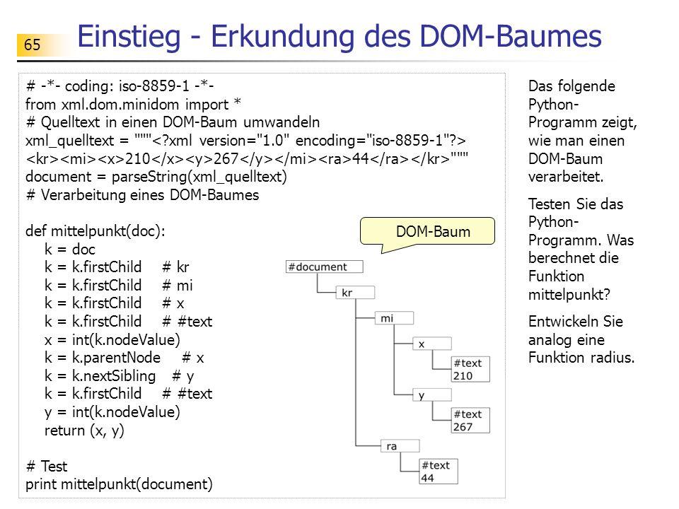 65 # -*- coding: iso-8859-1 -*- from xml.dom.minidom import * # Quelltext in einen DOM-Baum umwandeln xml_quelltext =