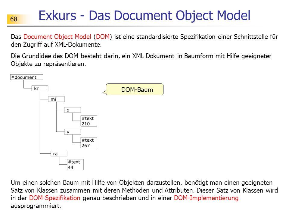 68 Exkurs - Das Document Object Model DOM-Baum Das Document Object Model (DOM) ist eine standardisierte Spezifikation einer Schnittstelle für den Zugr