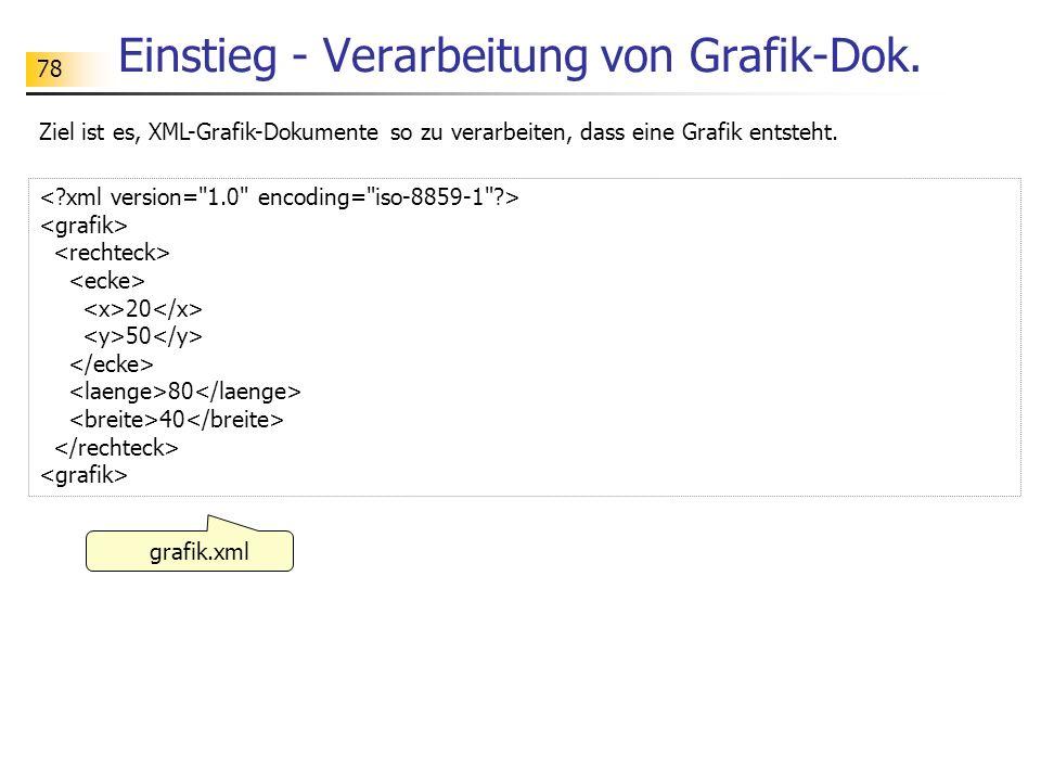 78 Einstieg - Verarbeitung von Grafik-Dok. grafik.xml 20 50 80 40 Ziel ist es, XML-Grafik-Dokumente so zu verarbeiten, dass eine Grafik entsteht.