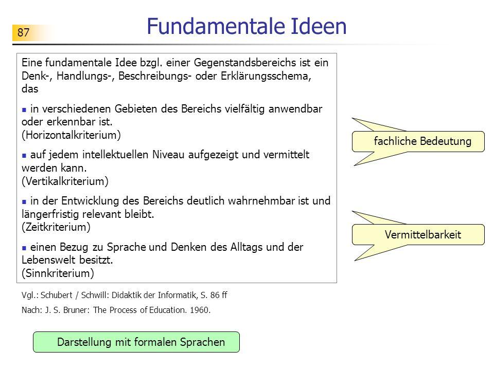 87 Fundamentale Ideen fachliche Bedeutung Darstellung mit formalen Sprachen Vermittelbarkeit Eine fundamentale Idee bzgl. einer Gegenstandsbereichs is