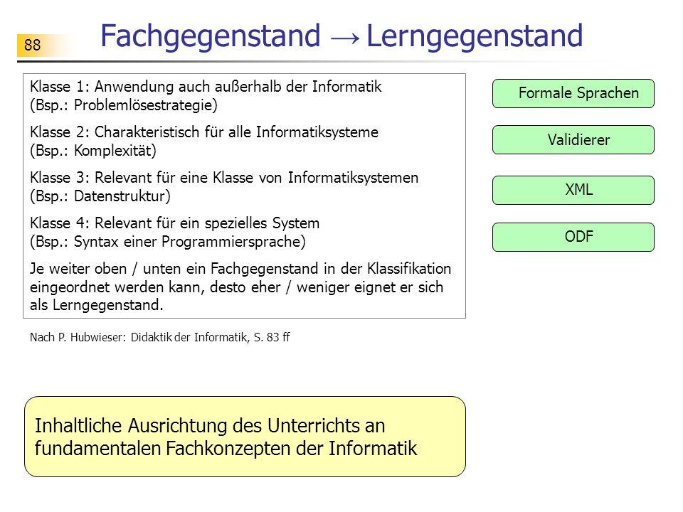 88 Fachgegenstand Lerngegenstand Formale Sprachen Klasse 1: Anwendung auch außerhalb der Informatik (Bsp.: Problemlösestrategie) Klasse 2: Charakteris
