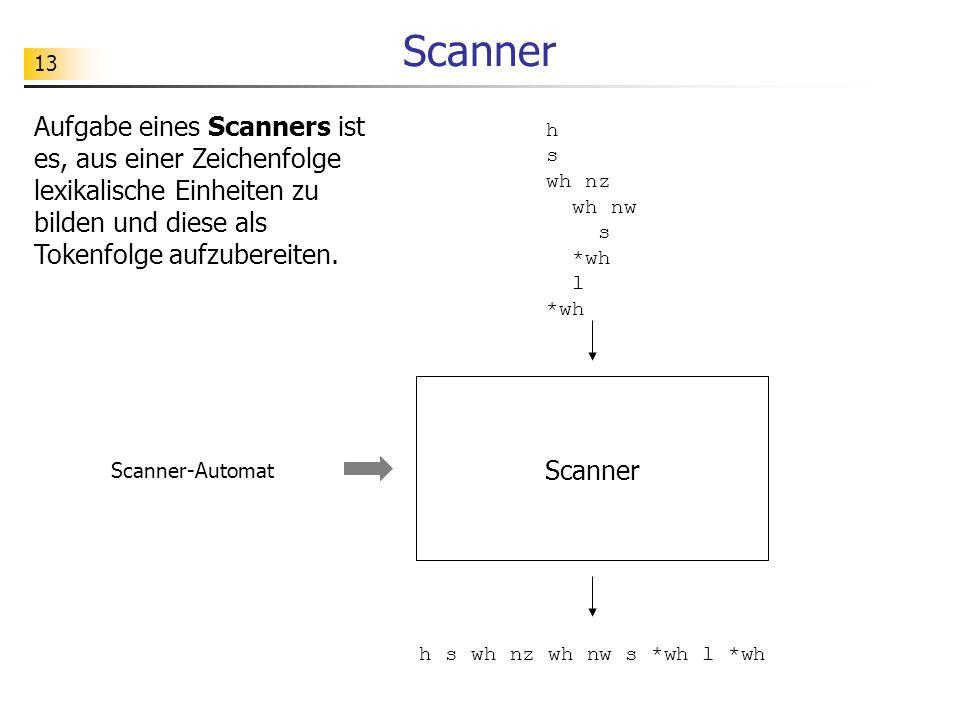 13 Scanner Aufgabe eines Scanners ist es, aus einer Zeichenfolge lexikalische Einheiten zu bilden und diese als Tokenfolge aufzubereiten.