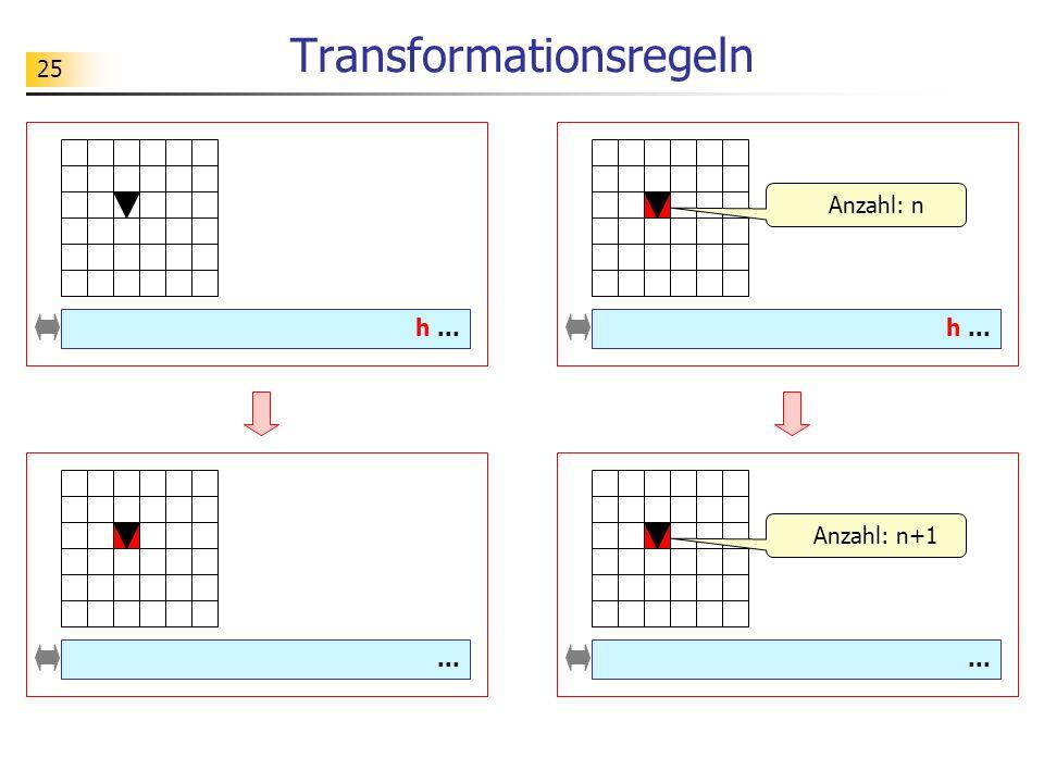 25 Transformationsregeln... h...... h... Anzahl: n Anzahl: n+1