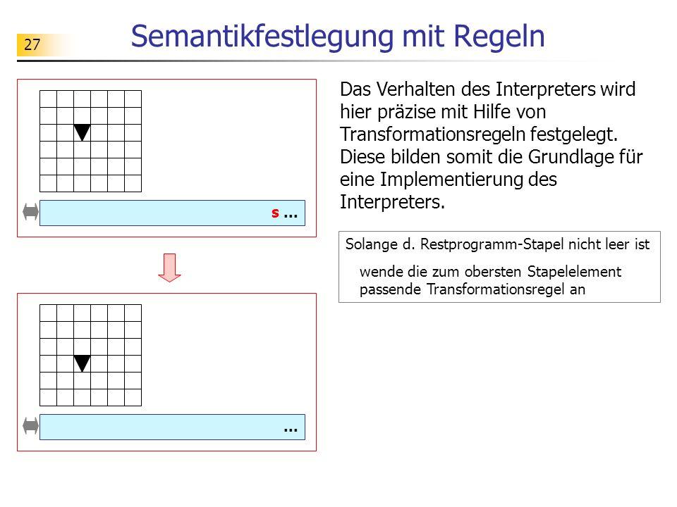 27 Semantikfestlegung mit Regeln Solange d.