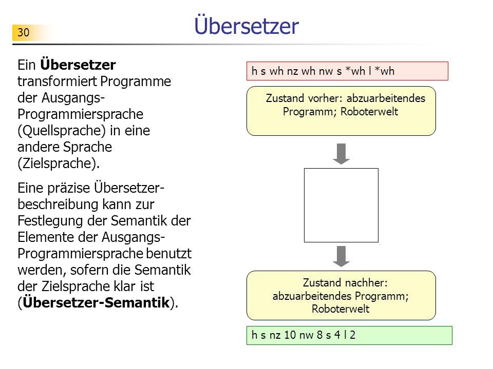 30 Übersetzer Ein Übersetzer transformiert Programme der Ausgangs- Programmiersprache (Quellsprache) in eine andere Sprache (Zielsprache).