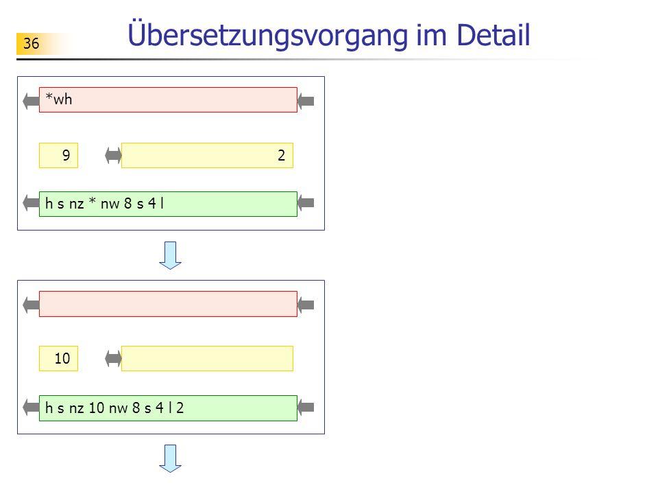 36 Übersetzungsvorgang im Detail *wh 9 h s nz * nw 8 s 4 l 2 10 h s nz 10 nw 8 s 4 l 2