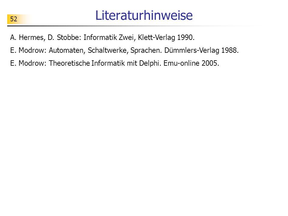 52 Literaturhinweise A. Hermes, D. Stobbe: Informatik Zwei, Klett-Verlag 1990.