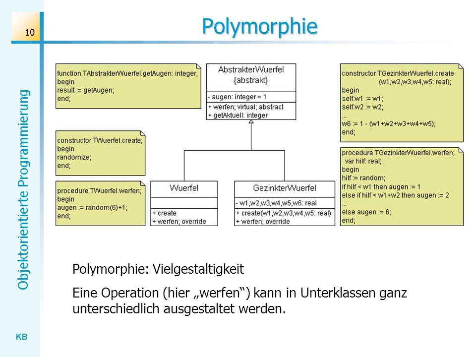 KB Objektorientierte Programmierung 10 Polymorphie Polymorphie: Vielgestaltigkeit Eine Operation (hier werfen) kann in Unterklassen ganz unterschiedli