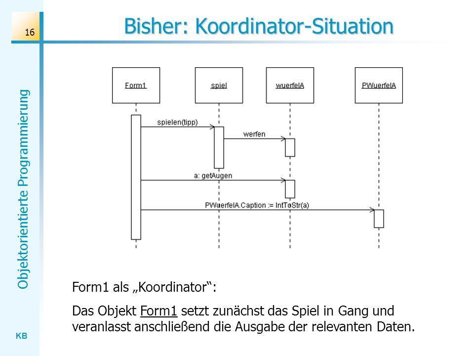 KB Objektorientierte Programmierung 16 Bisher: Koordinator-Situation Form1 als Koordinator: Das Objekt Form1 setzt zunächst das Spiel in Gang und vera