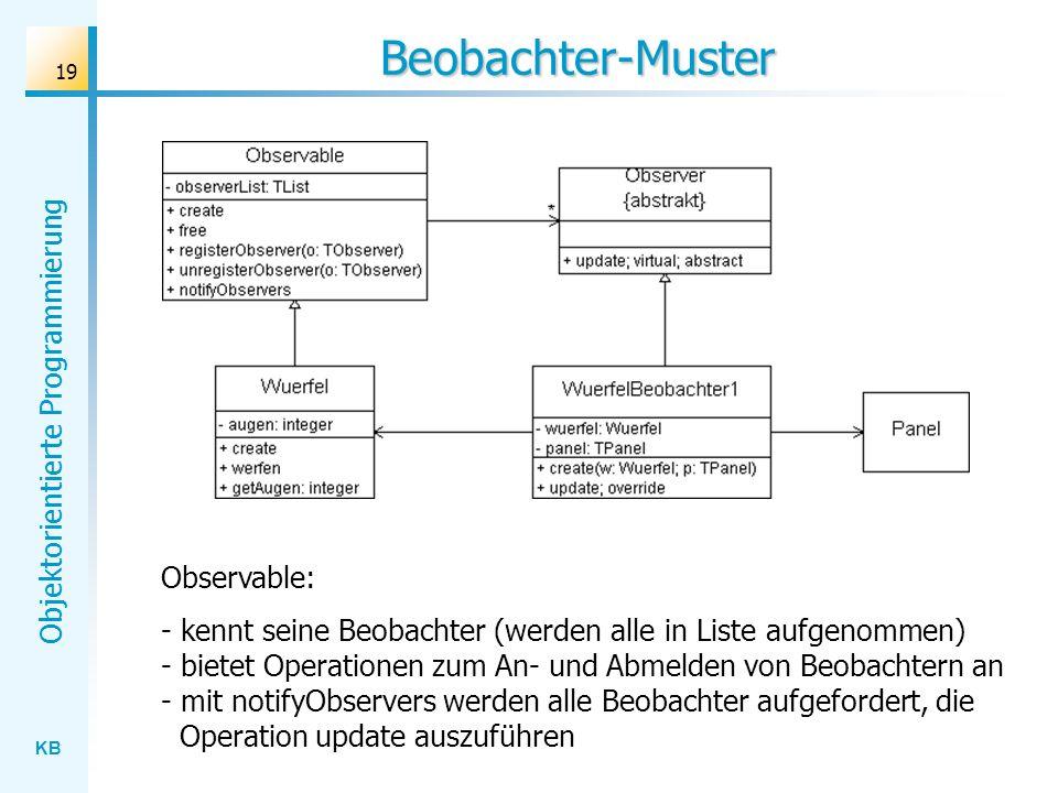KB Objektorientierte Programmierung 19 Beobachter-Muster Observable: - kennt seine Beobachter (werden alle in Liste aufgenommen) - bietet Operationen