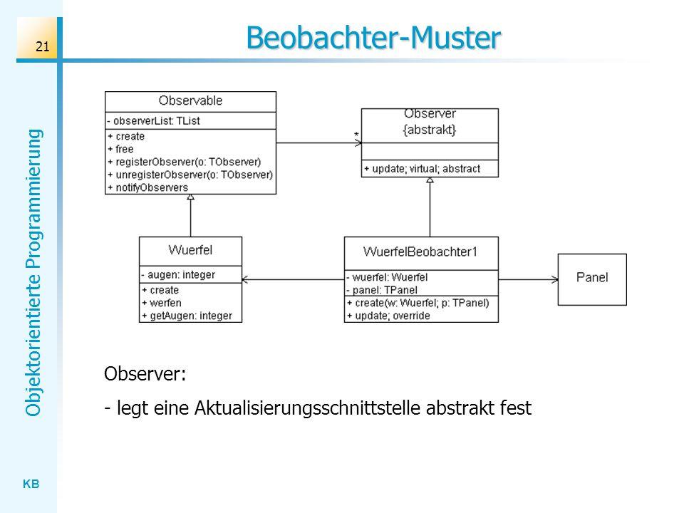 KB Objektorientierte Programmierung 21 Beobachter-Muster Observer: - legt eine Aktualisierungsschnittstelle abstrakt fest