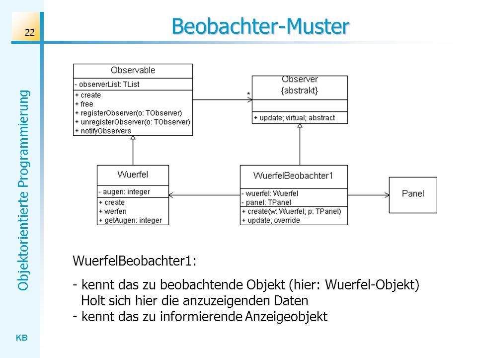 KB Objektorientierte Programmierung 22 Beobachter-Muster WuerfelBeobachter1: - kennt das zu beobachtende Objekt (hier: Wuerfel-Objekt) Holt sich hier