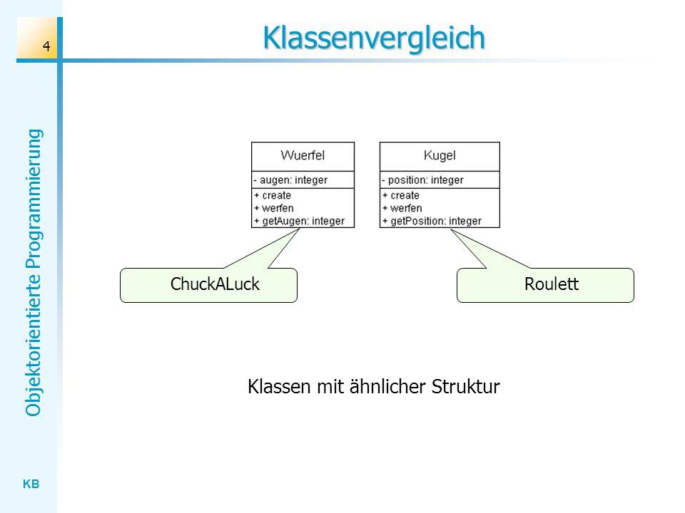 KB Objektorientierte Programmierung 4 Klassenvergleich ChuckALuck Roulett Klassen mit ähnlicher Struktur